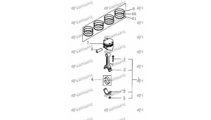 Поршень и шатун BYD F3 (F3R)