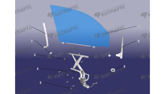Стекло и стеклоподъемник передней двери Chery Tiggo (T11)