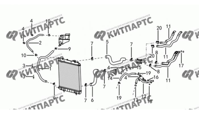 Трубки и шланги системы охлаждения Dong Feng H30 Cross