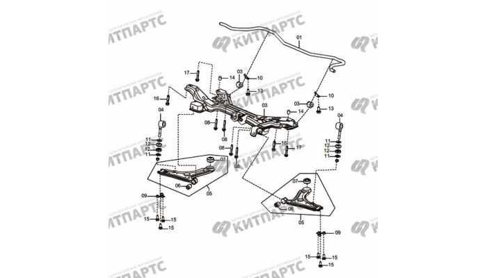 Подрамник, передний стабилизатор и рычаги (МКПП) FAW Oley