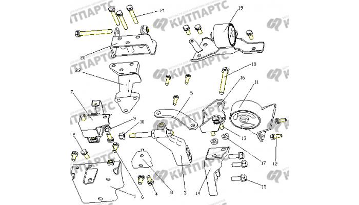 Подушки двигателя (1.3L) Geely Otaka (CK)