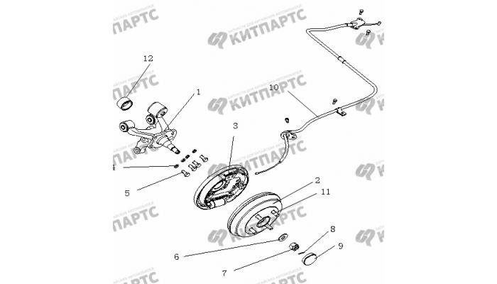 Тормоз задний левый (Барабанный, без ABS) Geely Otaka (CK)